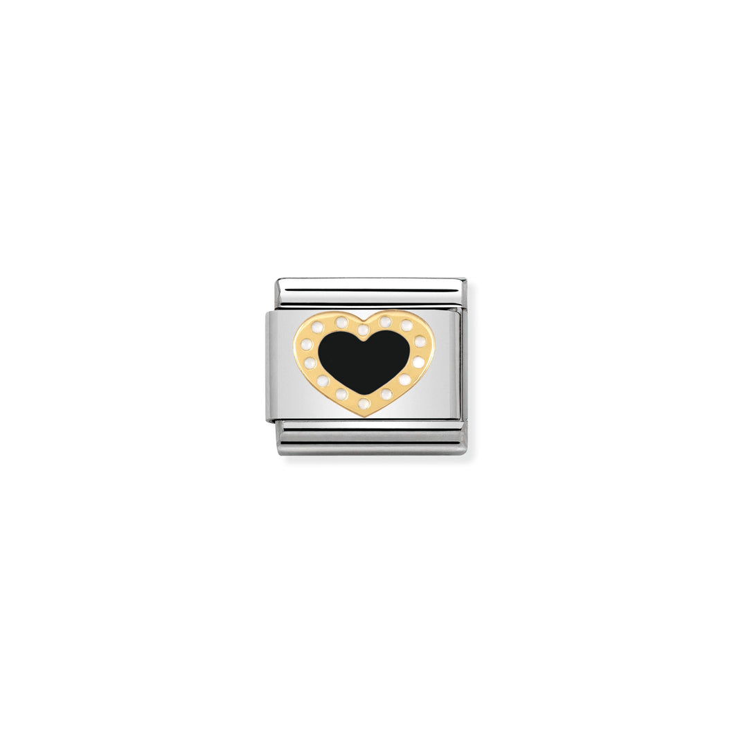 COMPOSABLE CLASSIC LINK 030283/02 BLACK HEART WITH DOTS 18K GOLD AND ENAMEL