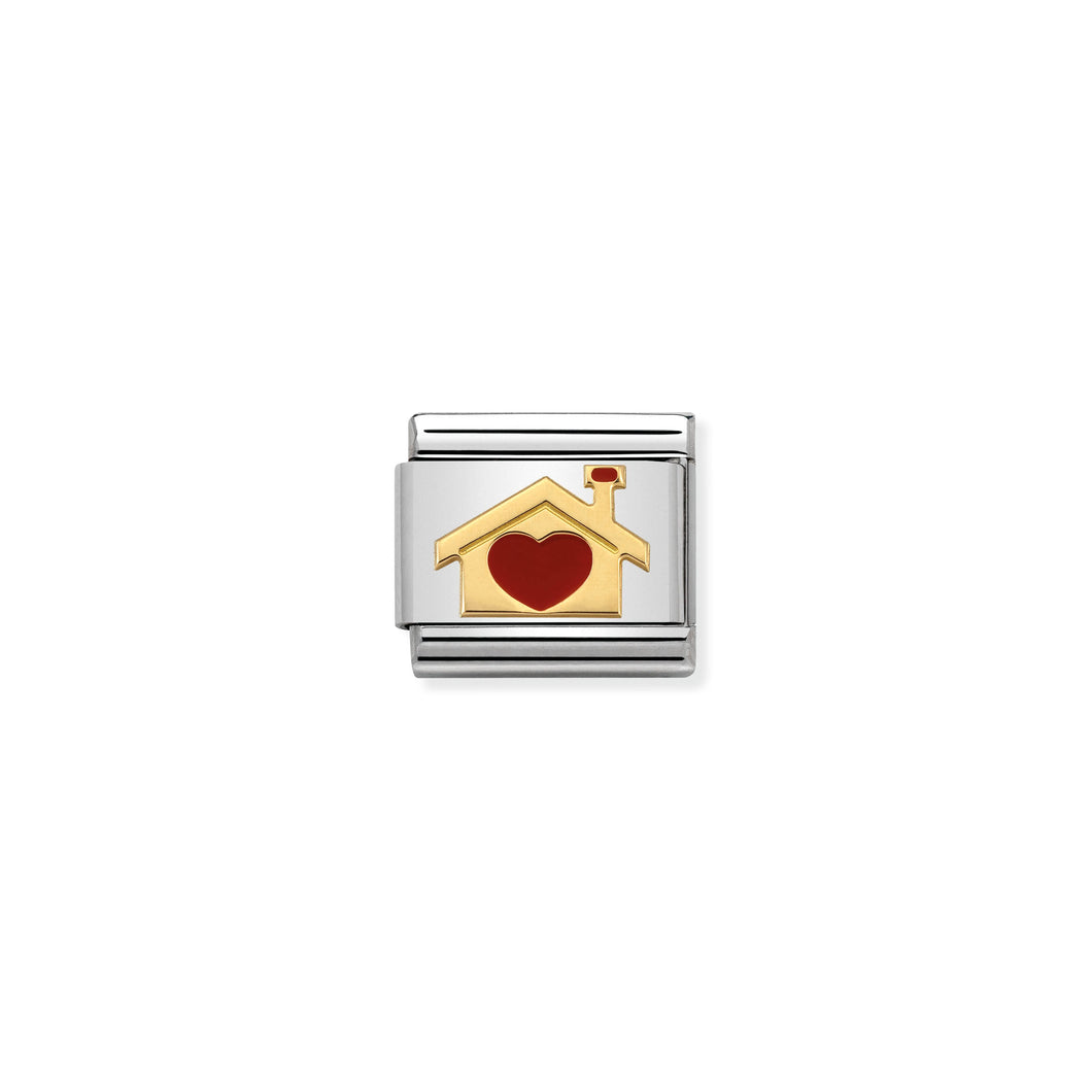 COMPOSABLE CLASSIC LINK 030283/07 HOME WITH HEART 18K GOLD AND ENAMEL