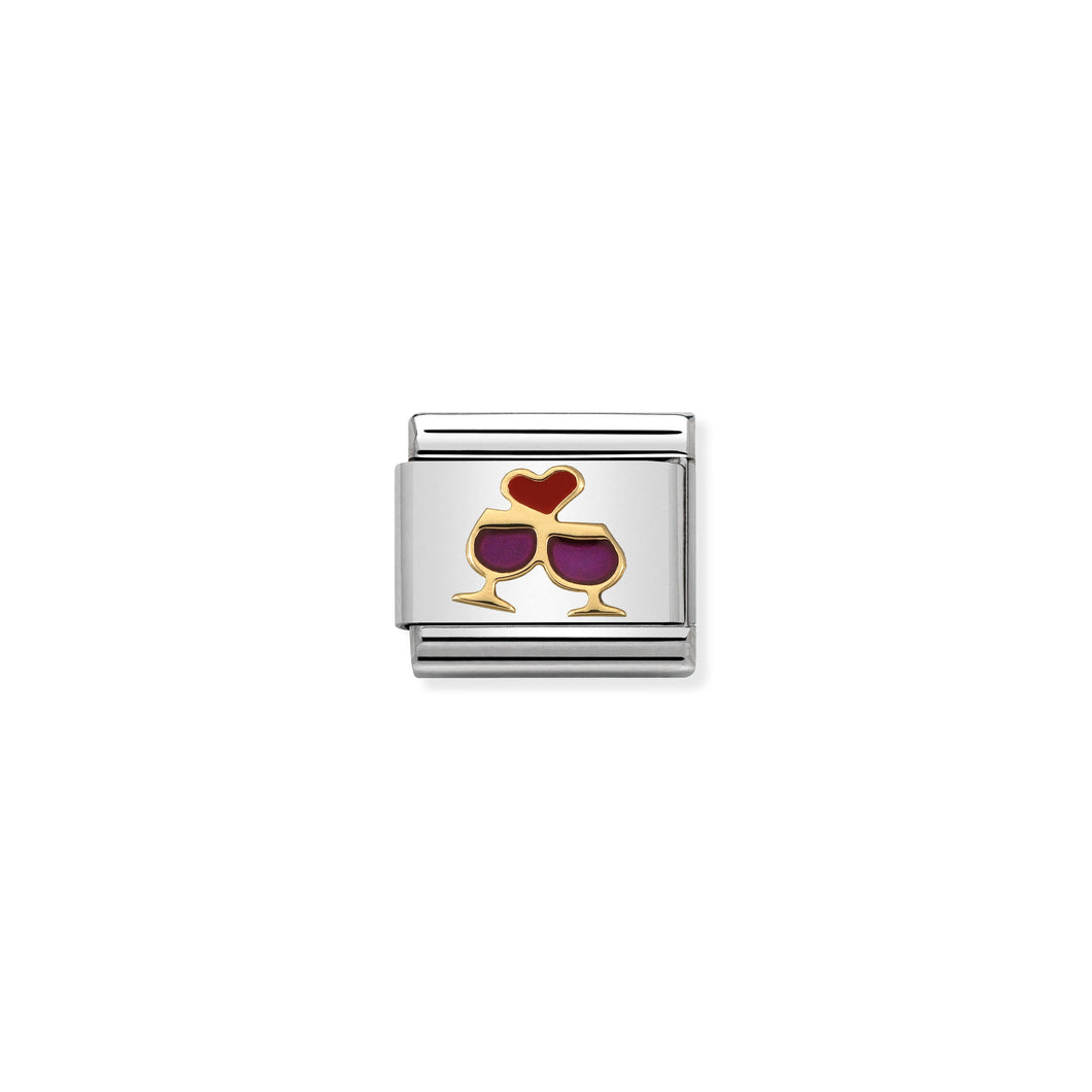 COMPOSABLE CLASSIC LINK 030283/08 GLASSES WITH HEART 18K GOLD AND ENAMEL