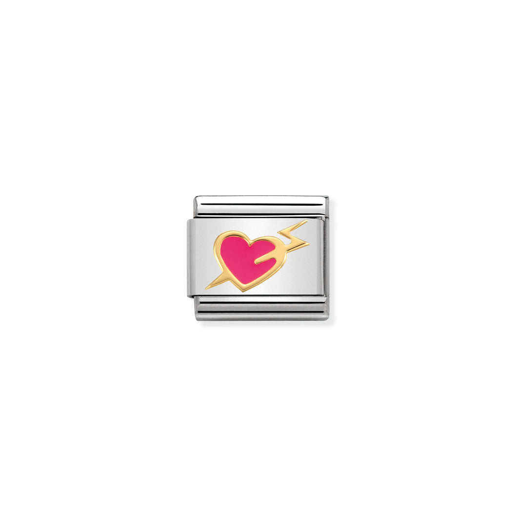 COMPOSABLE CLASSIC LINK 030283/13 PINK HEART WITH LIGHTNING 18K GOLD AND ENAMEL