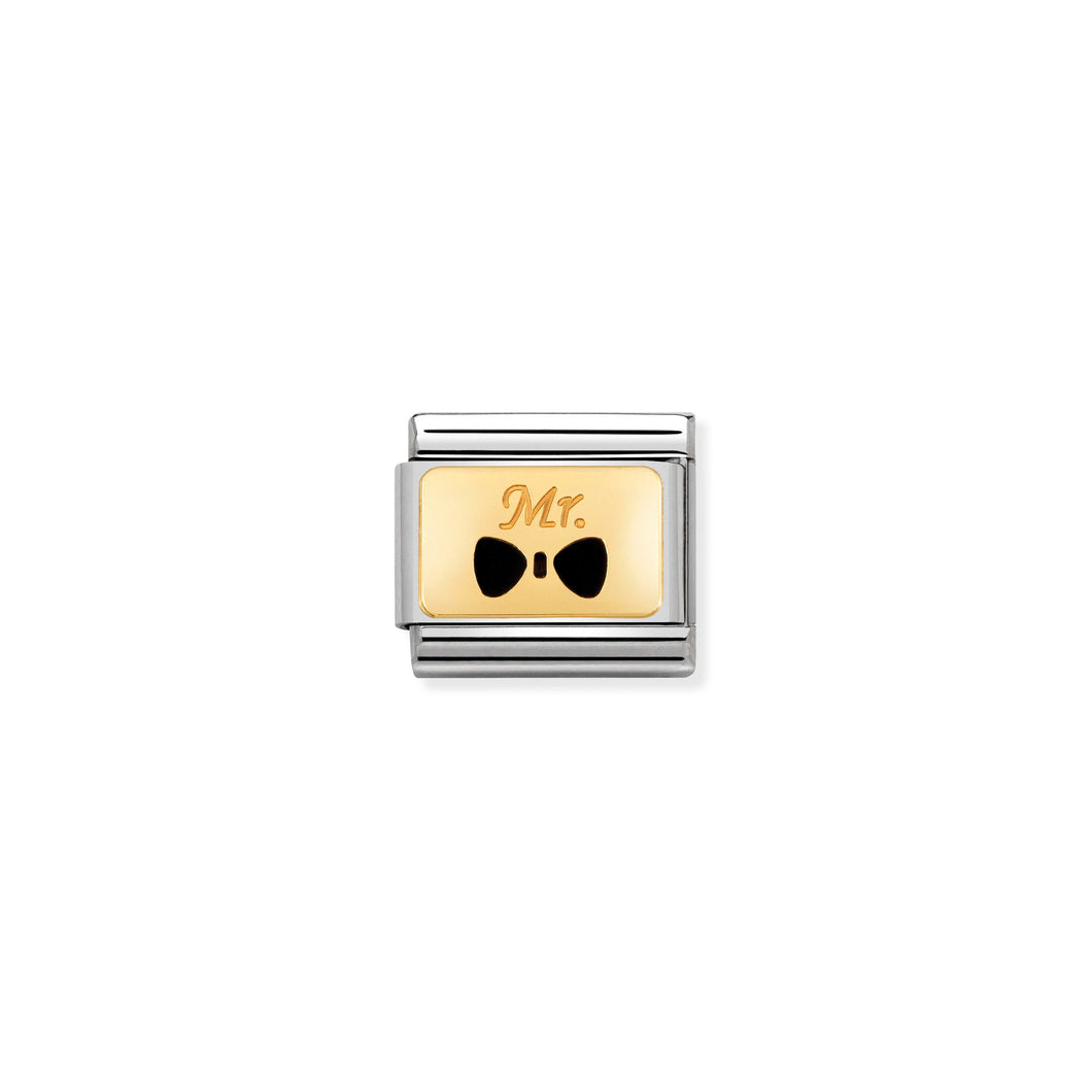 COMPOSABLE CLASSIC LINK 030284/25 MR WITH BOW TIE 18K GOLD AND ENAMEL