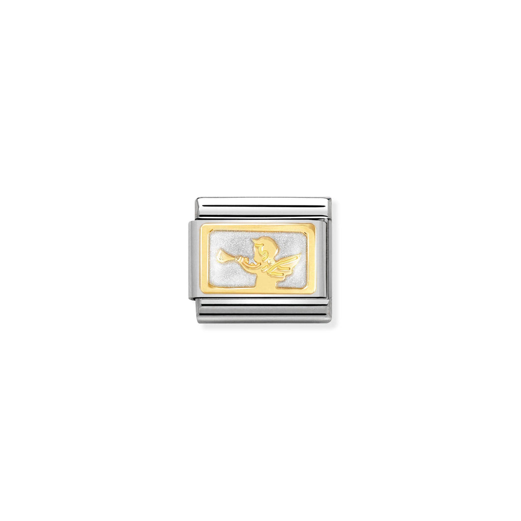 COMPOSABLE CLASSIC LINK 030284/33 GOOD NEWS MESSENGER ANGEL 18K GOLD AND ENAMEL