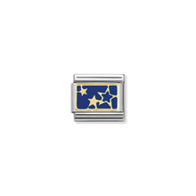 Load image into Gallery viewer, COMPOSABLE CLASSIC LINK 030284/44 STARS ON BLUE PLATE 18K GOLD AND ENAMEL
