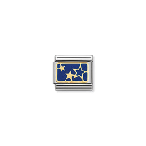 COMPOSABLE CLASSIC LINK 030284/44 STARS ON BLUE PLATE 18K GOLD AND ENAMEL