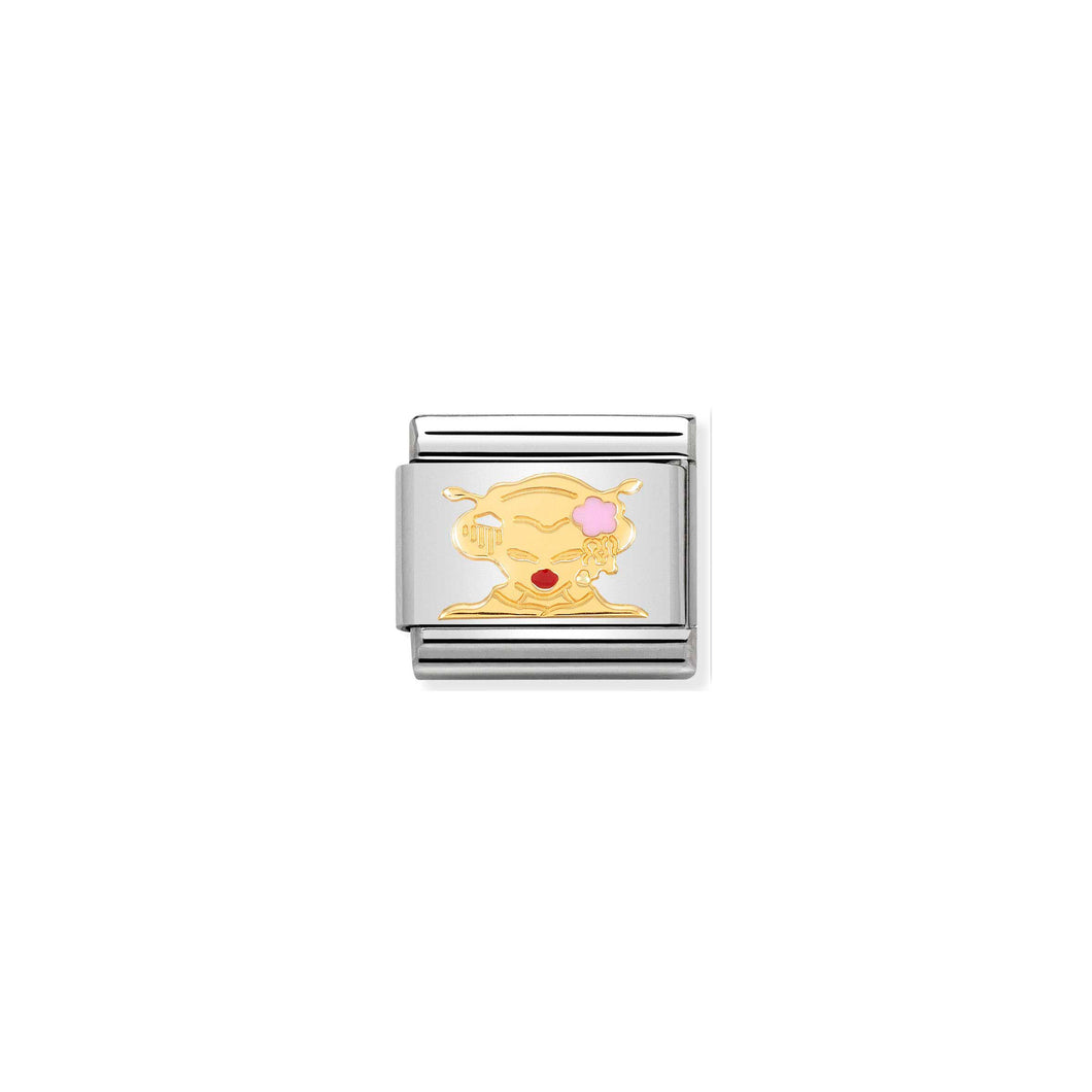 COMPOSABLE CLASSIC LINK 030285/47 GEISHA 18K GOLD AND ENAMEL