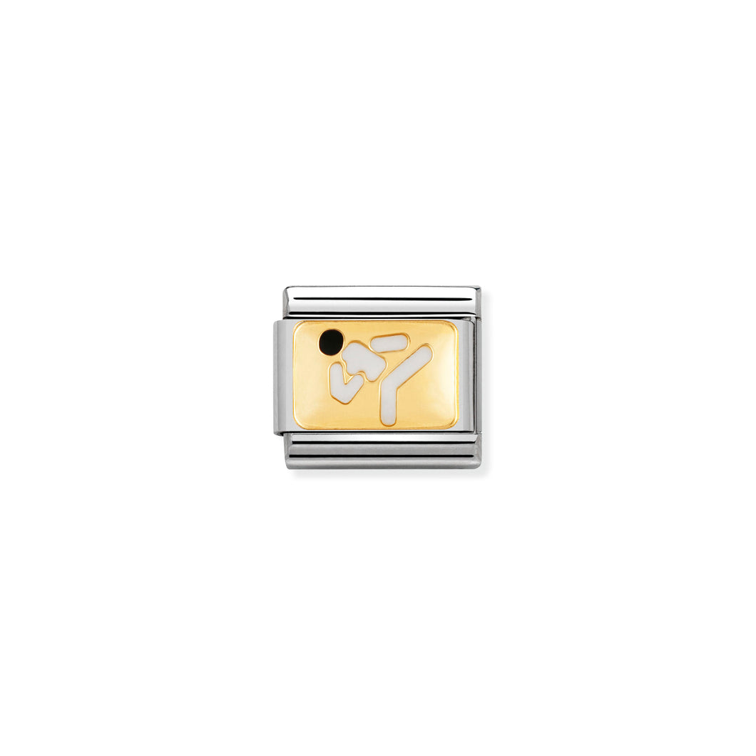 COMPOSABLE CLASSIC LINK 030287/05 KARATE 18K GOLD AND ENAMEL
