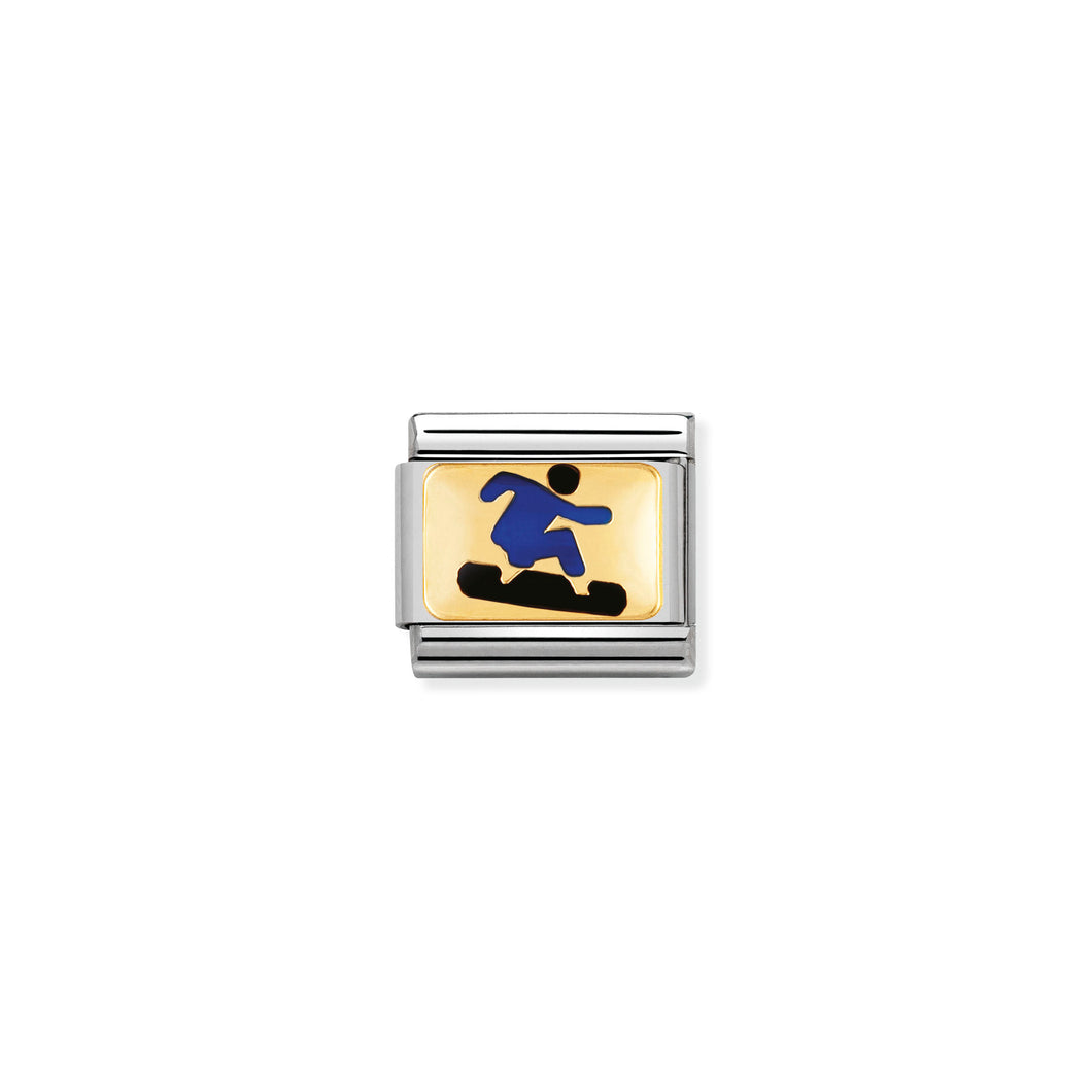 COMPOSABLE CLASSIC LINK 030287/06 BLUE SNOWBOARDER 18K GOLD AND ENAMEL