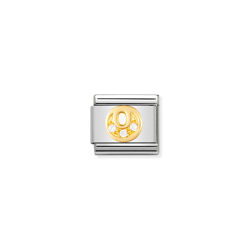 COMPOSABLE CLASSIC LINK 030301/15 LETTER O IN 18K GOLD AND CZ