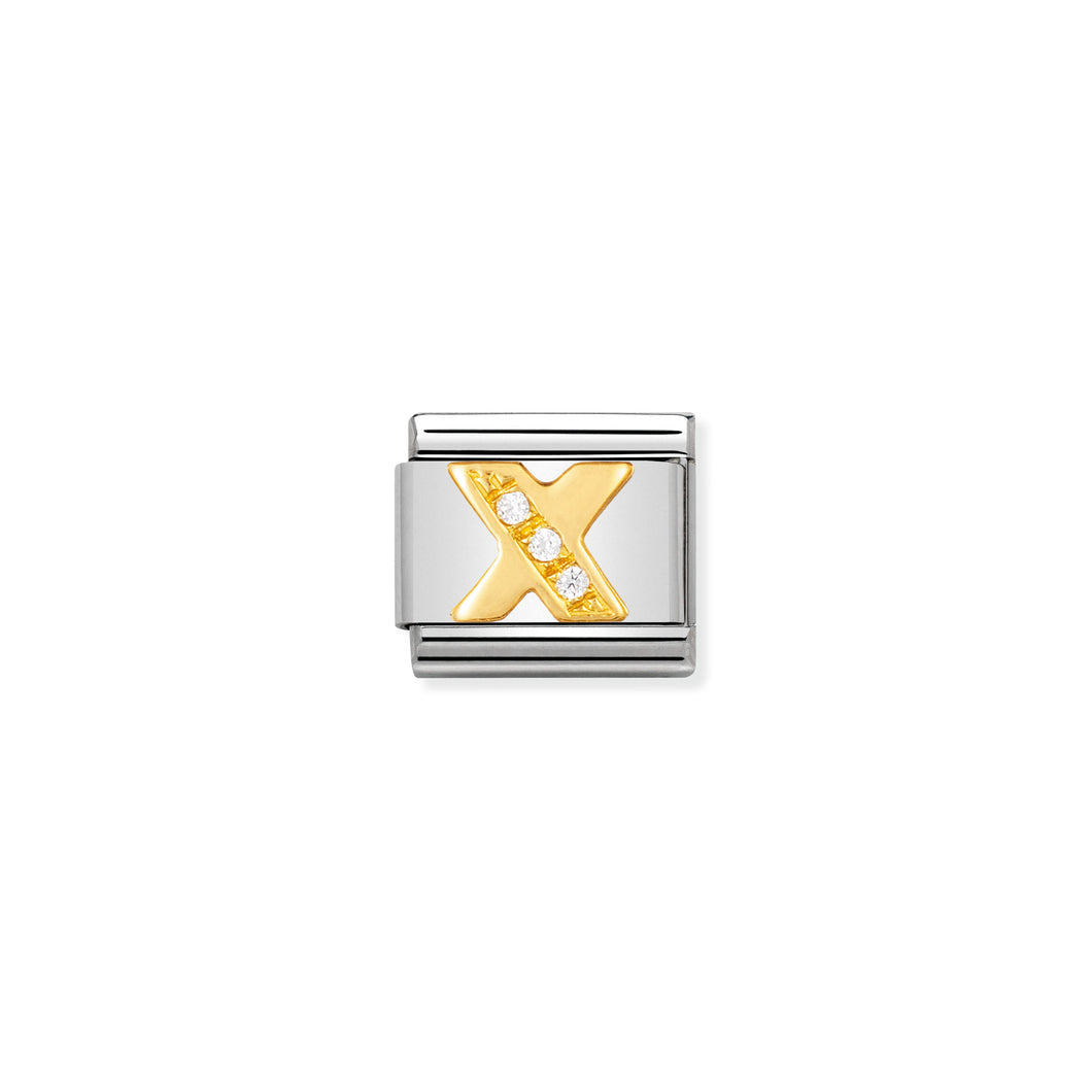 COMPOSABLE CLASSIC LINK 030301/24 LETTER X IN 18K GOLD AND CZ