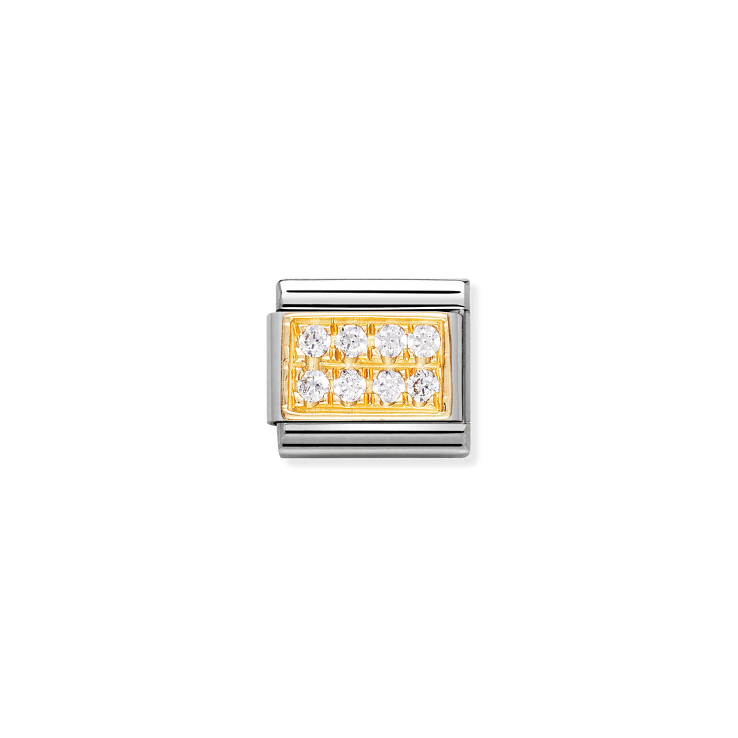COMPOSABLE CLASSIC LINK 030314/01 WHITE PAVÉ WITH CZ IN 18K GOLD