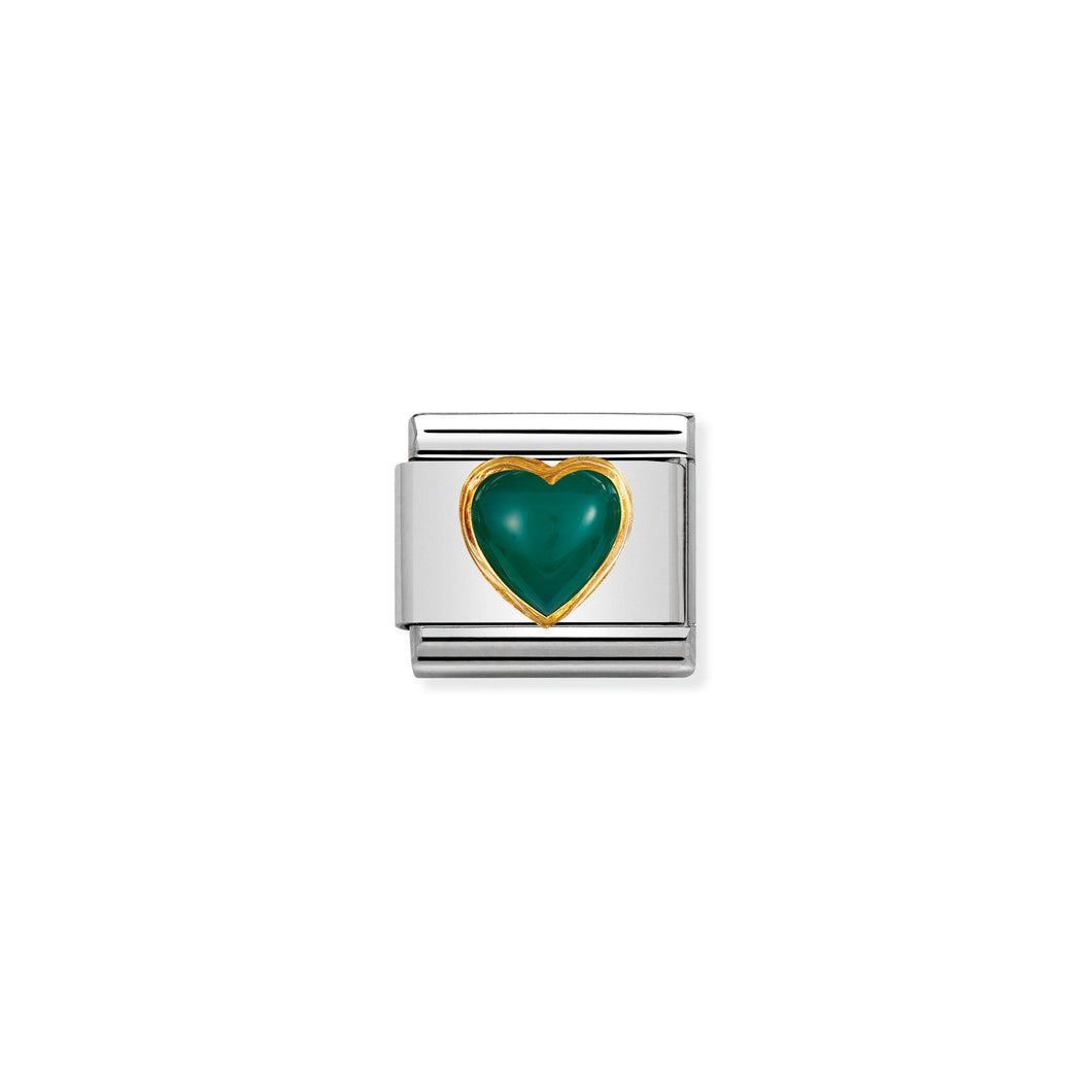 COMPOSABLE CLASSIC LINK 030501/03 HEART WITH GREEN AGATE IN 18K GOLD