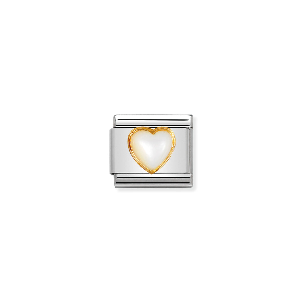 COMPOSABLE CLASSIC LINK 030501/12 HEART WITH WHITE MOTHER OF PEARL IN 18K GOLD