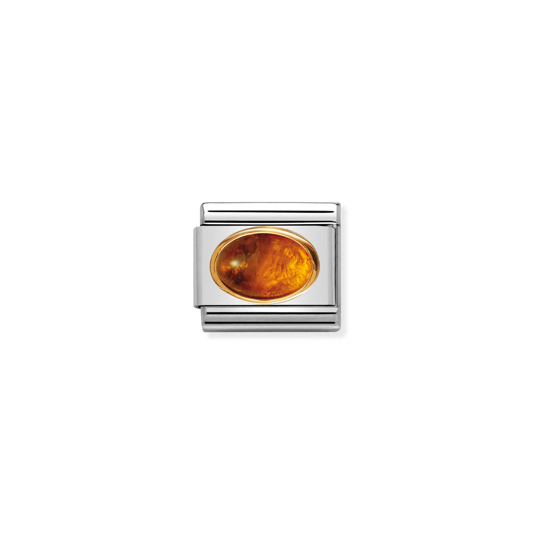COMPOSABLE CLASSIC LINK 030502/01 AMBER OVAL IN 18K GOLD