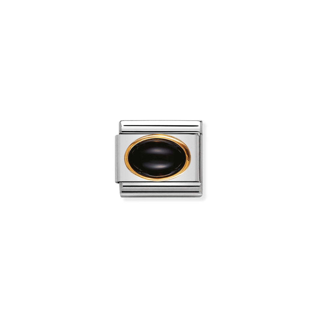 COMPOSABLE CLASSIC LINK 030502/02 BLACK AGATE OVAL IN 18K GOLD