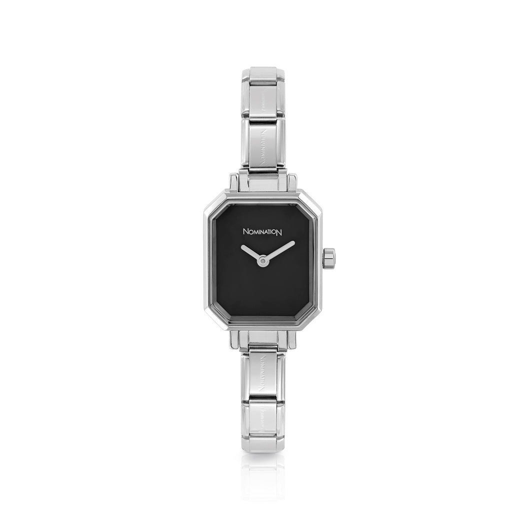 WATCH 076030/012 STAINLESS STEEL & BLACK RECTANGULAR DIAL