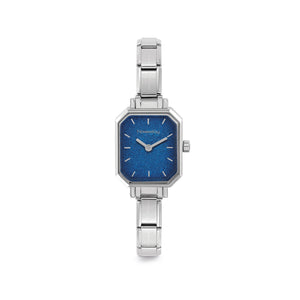 WATCH 076030/024 STAINLESS STEEL & BLUE GLITTER RECTANGULAR DIAL