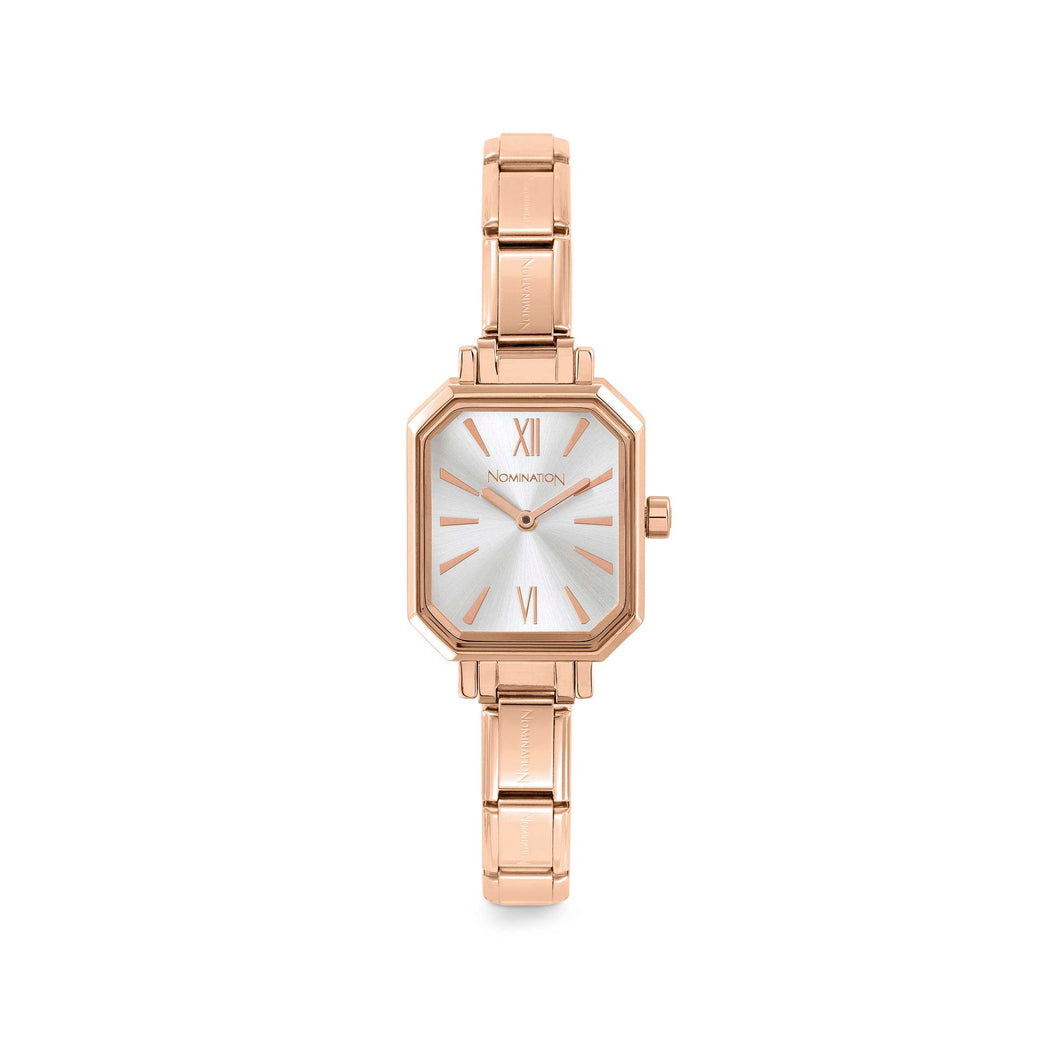 WATCH 076031/017 ROSE GOLD EP & SILVER RECTANGULAR DIAL