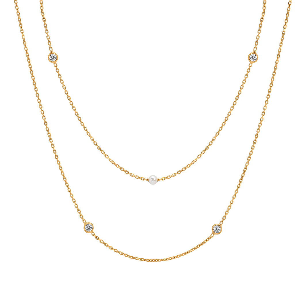 BELLA NECKLACE 142658/012 DOUBLE STRAND GOLD & SWAROVSKI® PEARL