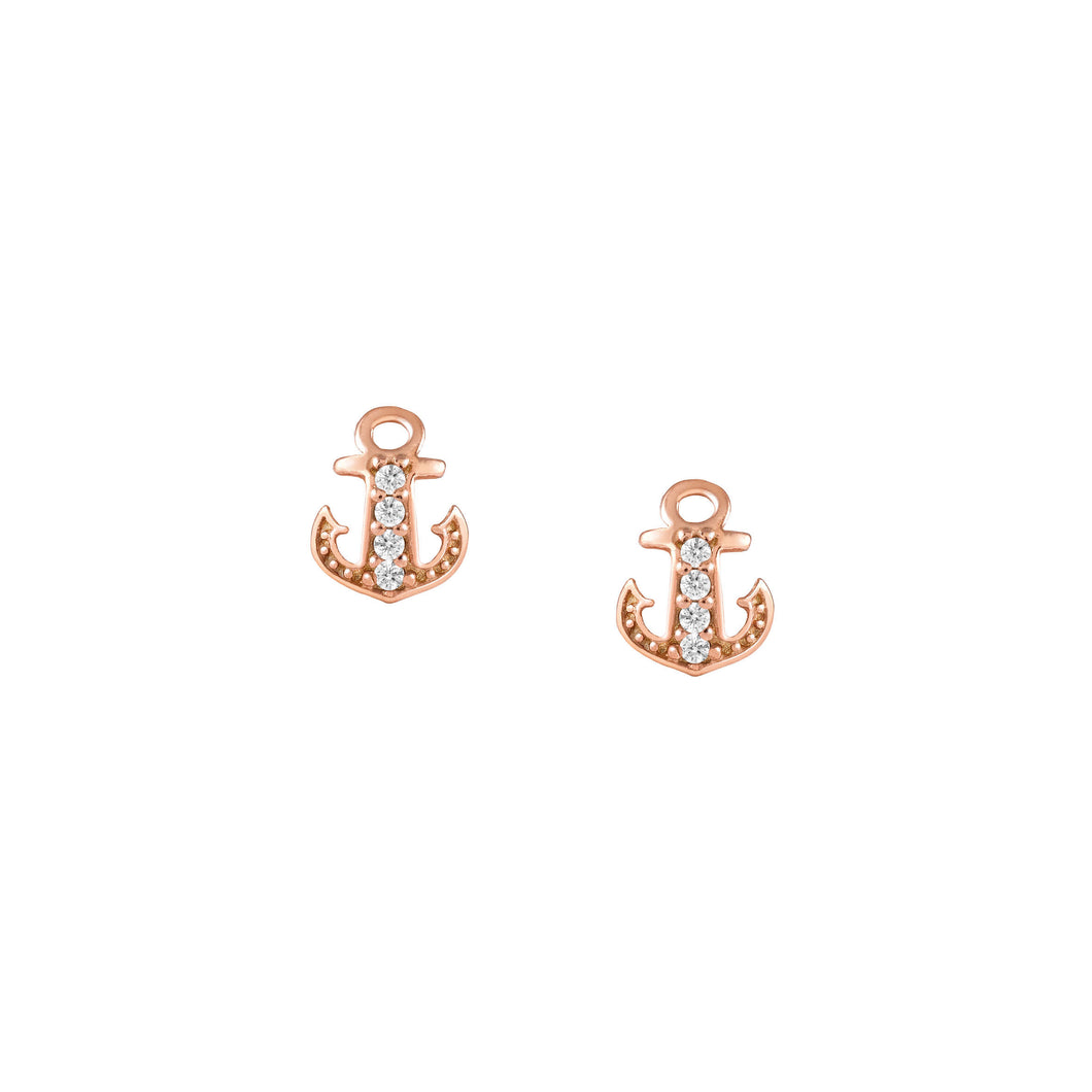GIOIE EARRINGS 146204/014 ROSE GOLD & CZ ANCHOR