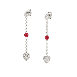 GIOIE EARRINGS 146205/001 SILVER DROP & CZ HEART
