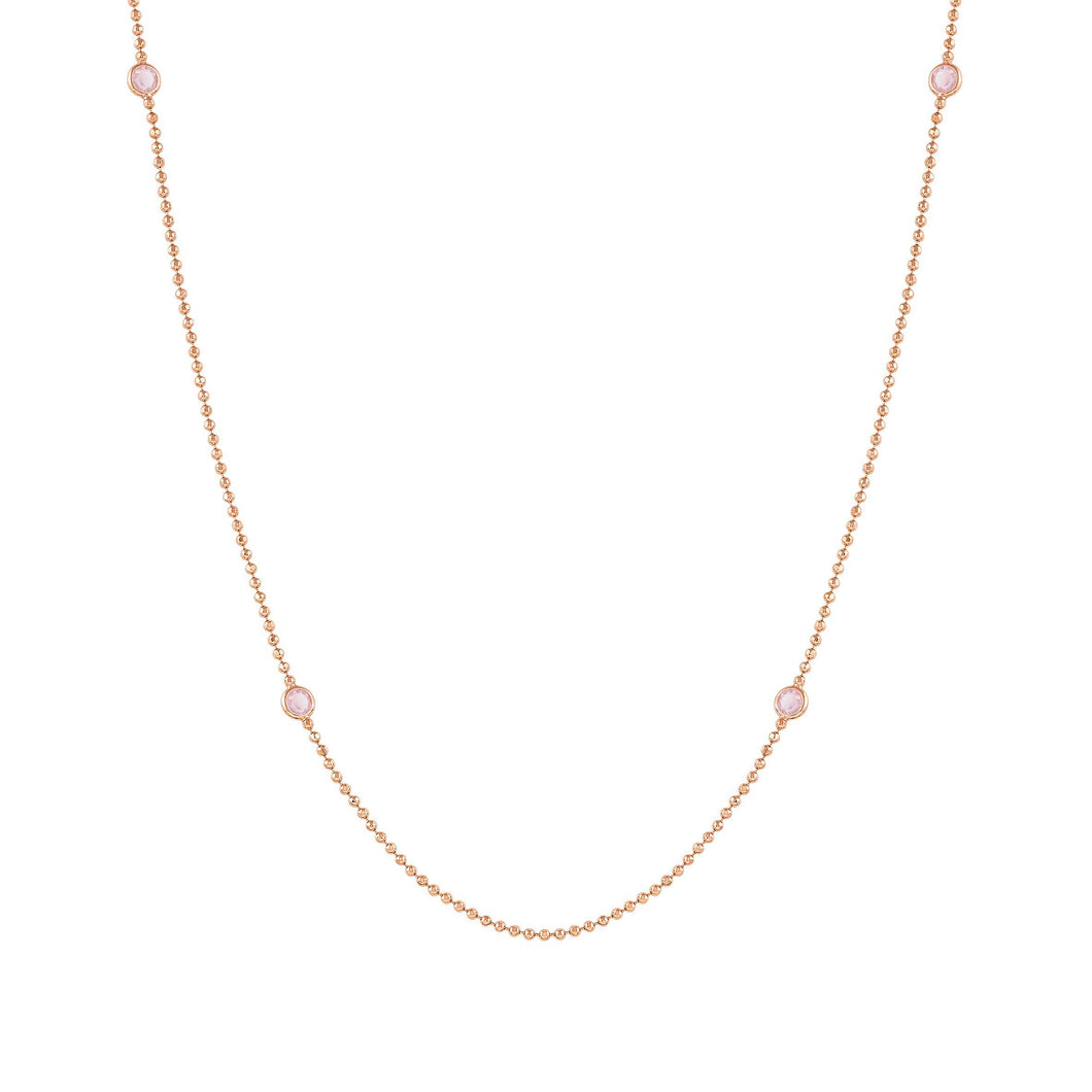 BELLA NECKLACE 146643/040 LONG ROSE GOLD & PINK CRYSTALS