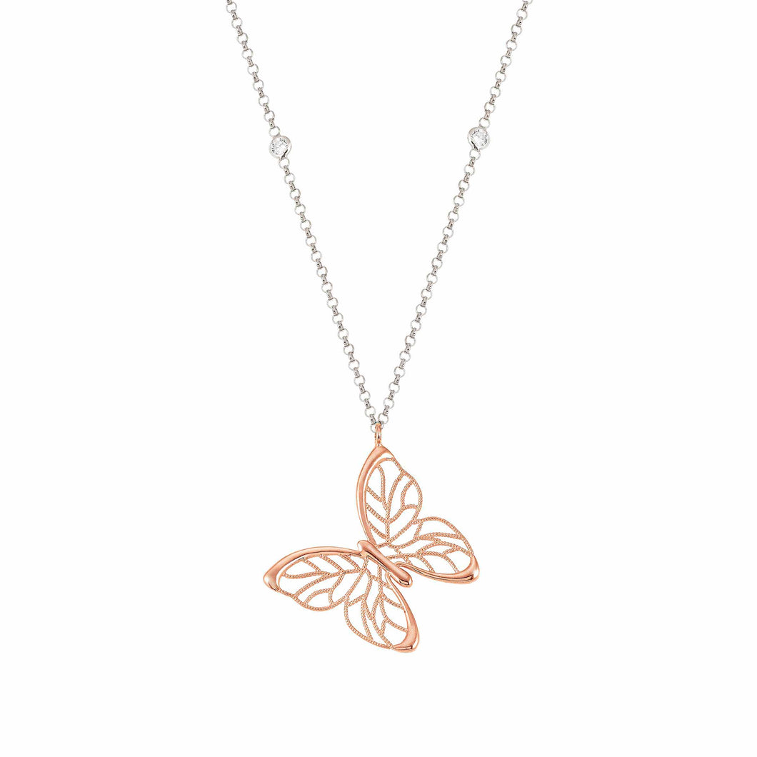 PRIMAVERA NECKLACE 147405/019 SILVER & LARGE ROSE GOLD BUTTERFLY