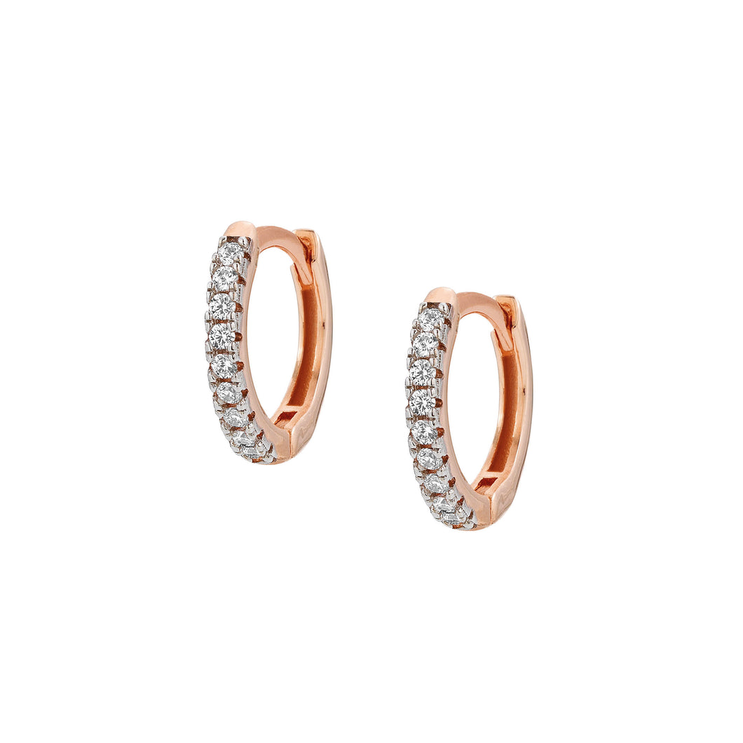 EASYCHIC EARRINGS 147903/011 ROSE GOLD & WHITE CZ SMALL HOOPS