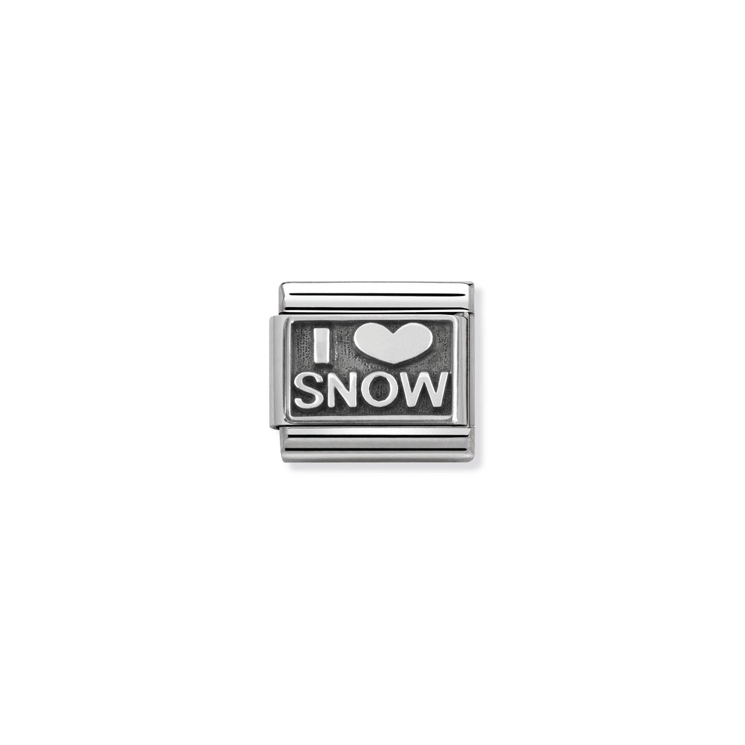 COMPOSABLE CLASSIC LINK 330102/21 I LOVE SNOW IN 925 SILVER