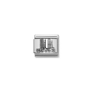 COMPOSABLE CLASSIC LINK 330105/03 TWIN TOWERS RELIEF IN 925 SILVER