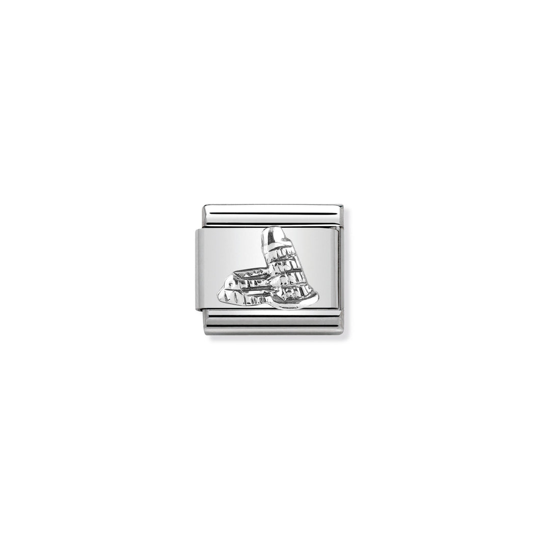 COMPOSABLE CLASSIC LINK 330105/19 TOWER OF PISA RELIEF IN 925 SILVER