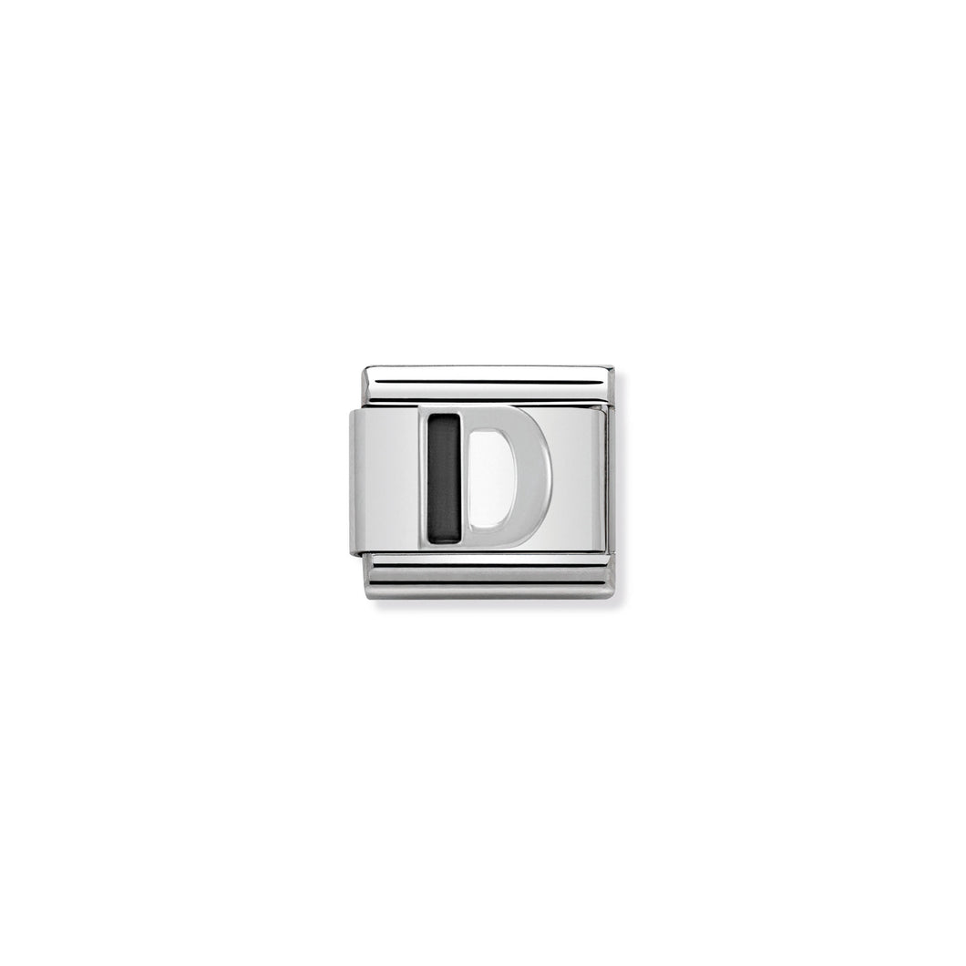 COMPOSABLE CLASSIC LINK 330201/04 BLACK LETTER D IN 925 SILVER