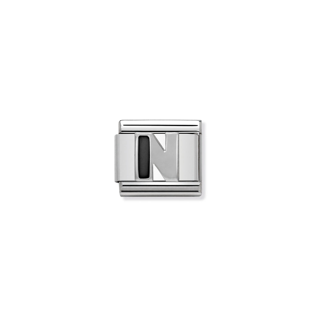 COMPOSABLE CLASSIC LINK 330201/14 BLACK LETTER N IN 925 SILVER