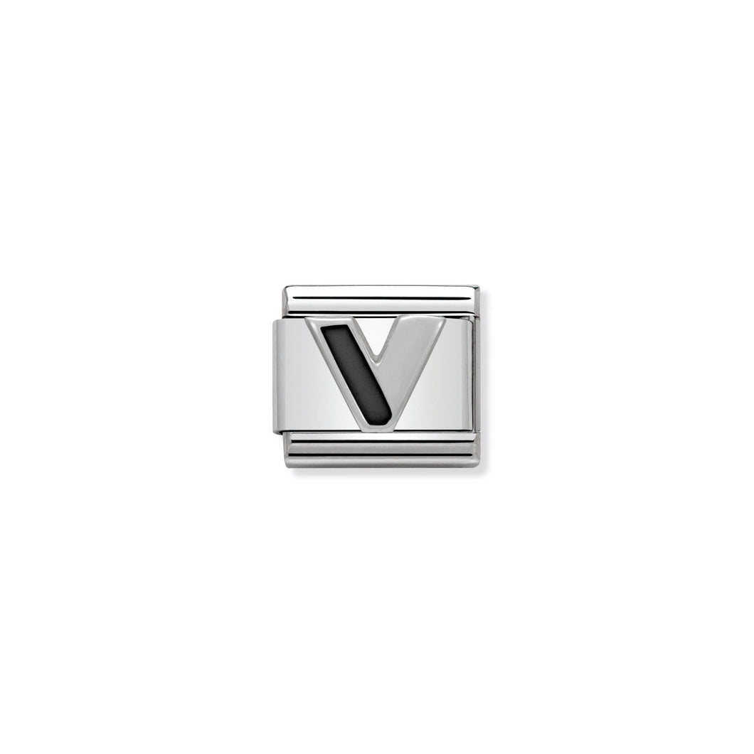 COMPOSABLE CLASSIC LINK 330201/22 BLACK LETTER V IN 925 SILVER
