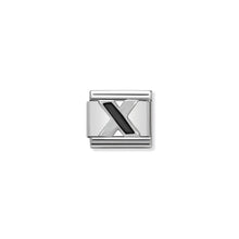 Load image into Gallery viewer, COMPOSABLE CLASSIC LINK 330201/24 BLACK LETTER X IN 925 SILVER
