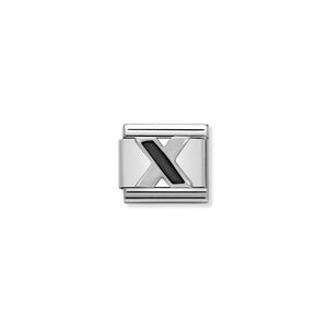 COMPOSABLE CLASSIC LINK 330201/24 BLACK LETTER X IN 925 SILVER