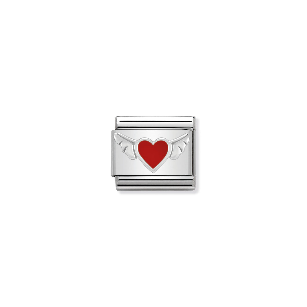 COMPOSABLE CLASSIC LINK 330202/01 HEART WITH WINGS IN ENAMEL & 925 SILVER