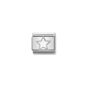 COMPOSABLE CLASSIC LINK 330202/04 WHITE STAR IN ENAMEL & 925 SILVER
