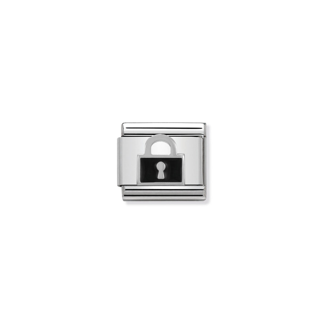 COMPOSABLE CLASSIC LINK 330202/06 BLACK LOCK IN ENAMEL & 925 SILVER