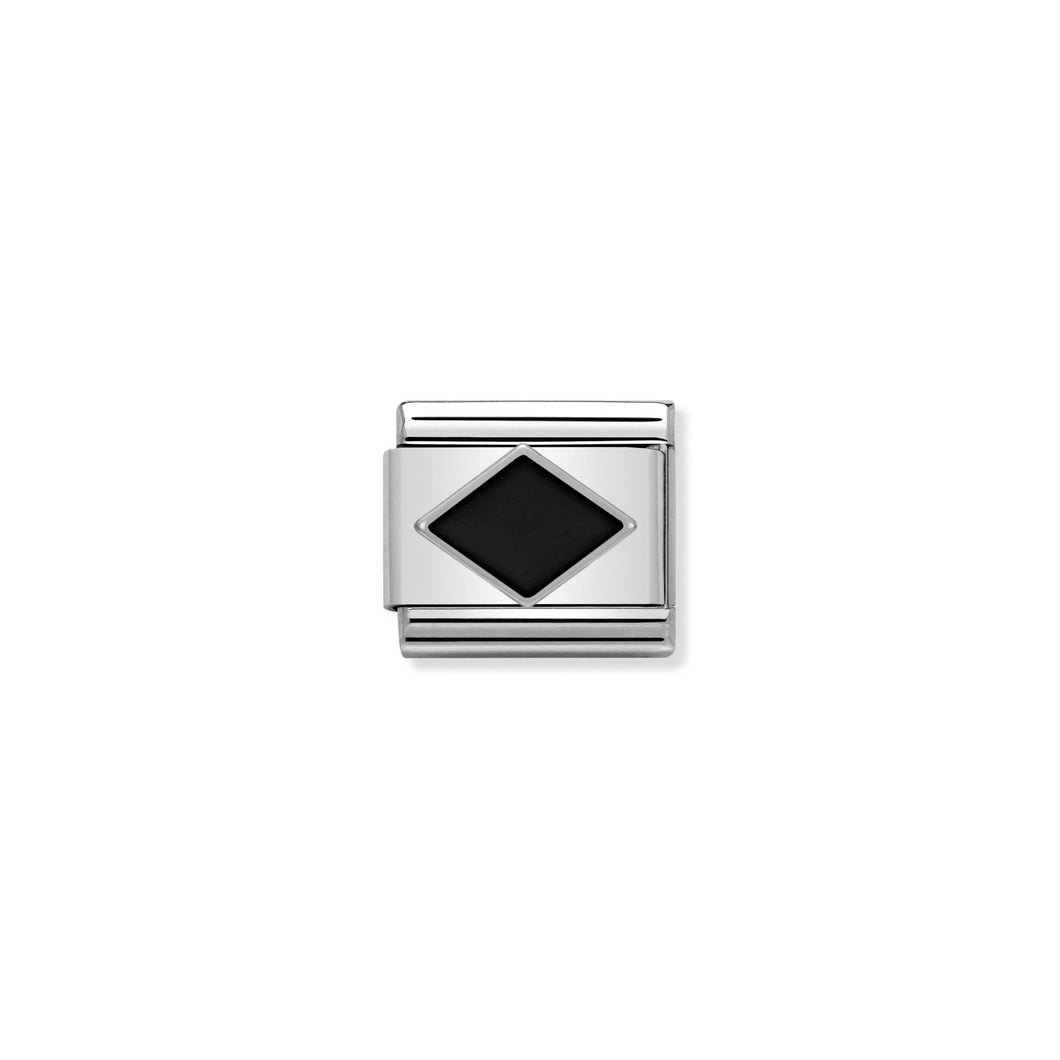 COMPOSABLE CLASSIC LINK 330202/10 BLACK RHOMBUS IN ENAMEL & 925 SILVER