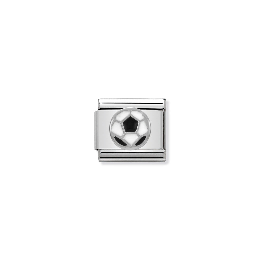 COMPOSABLE CLASSIC LINK 330202/13 SOCCER BALL IN ENAMEL & 925 SILVER