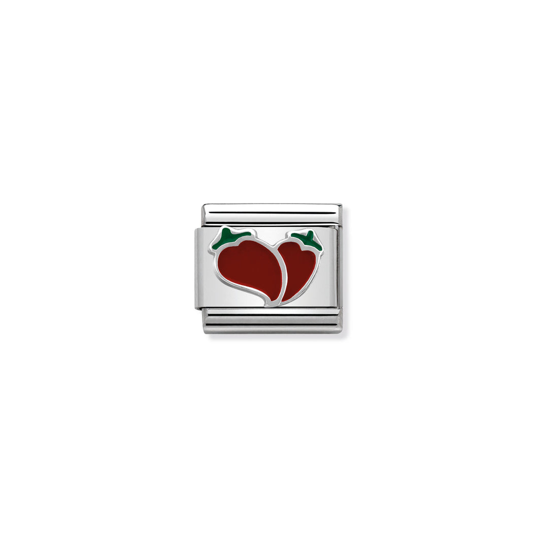 COMPOSABLE CLASSIC LINK 330202/19 CHILLI HEART IN ENAMEL & 925 SILVER