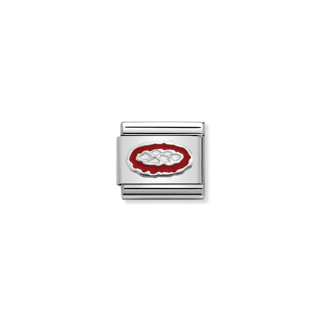 COMPOSABLE CLASSIC LINK 330202/33 PIZZA IN ENAMEL & 925 SILVER