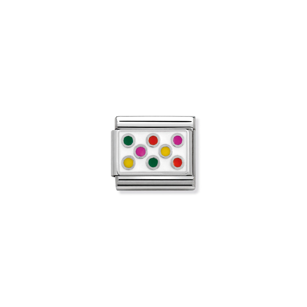 COMPOSABLE CLASSIC LINK 330206/10 MIXED DOTS IN ENAMEL & 925 SILVER