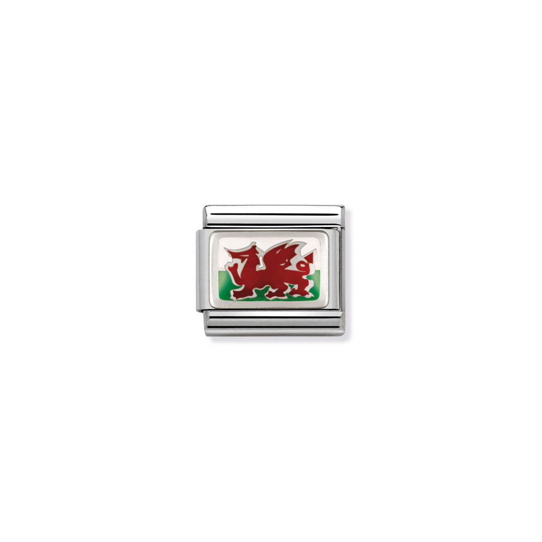 COMPOSABLE CLASSIC LINK 330207/02 WALES IN ENAMEL & 925 SILVER