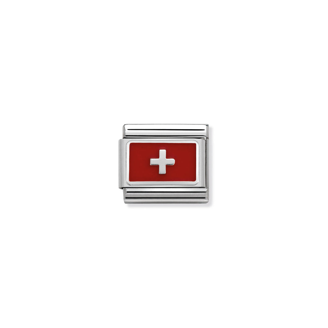COMPOSABLE CLASSIC LINK 330207/17 SWITZERLAND IN ENAMEL & 925 SILVER