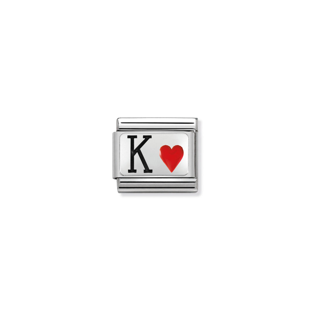 COMPOSABLE CLASSIC LINK 330208/28 KING OF HEARTS IN ENAMEL & 925 SILVER