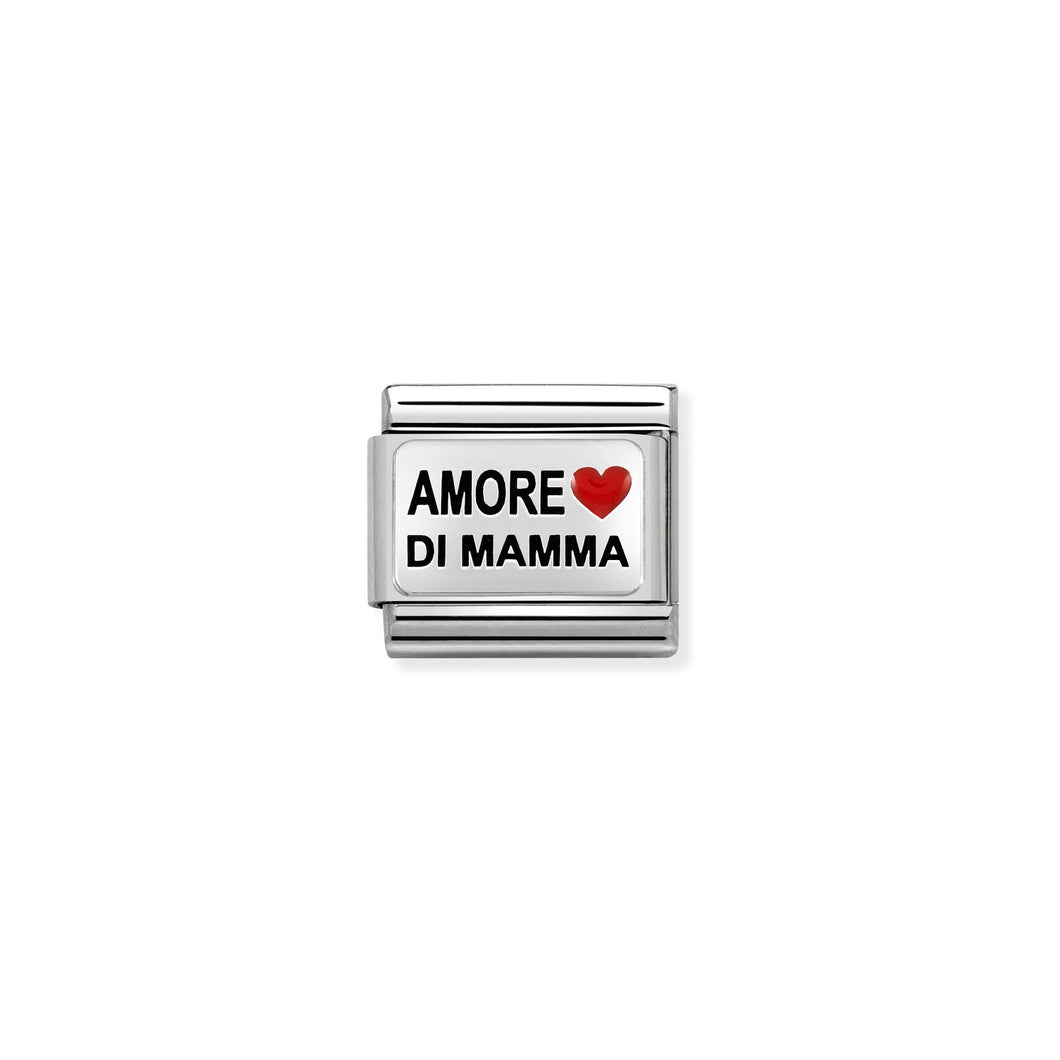 COMPOSABLE CLASSIC LINK 330208/35 AMORE DI MAMMA WITH HEART IN ENAMEL & 925 SILVER