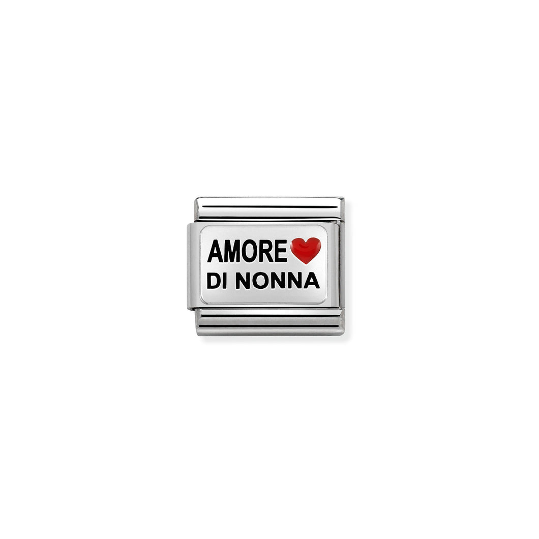 COMPOSABLE CLASSIC LINK 330208/37 AMORE DI NONNA WITH HEART IN ENAMEL & 925 SILVER
