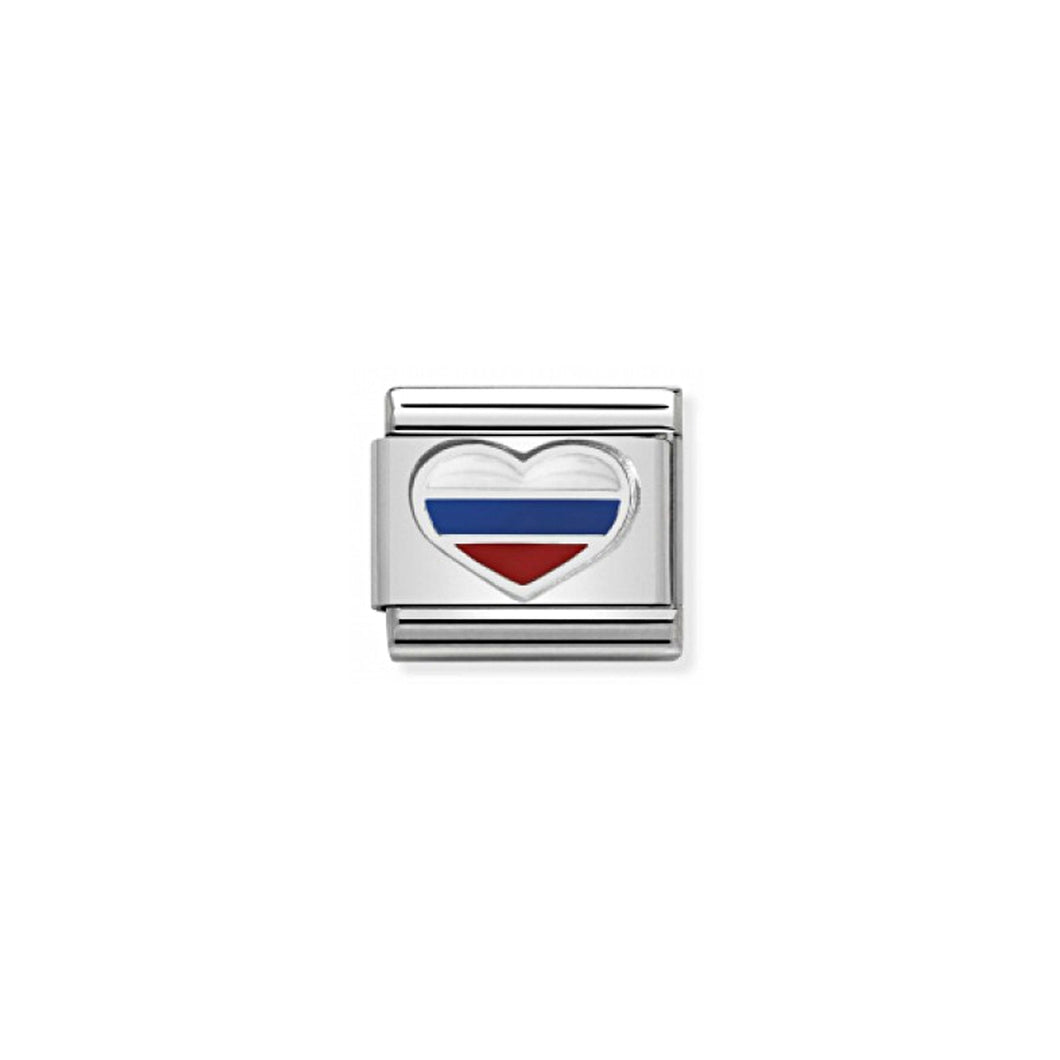 COMPOSABLE CLASSIC LINK 330209/32 HEART WITH RUSSIAN FLAG IN ENAMEL & 925 SILVER