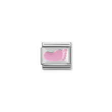 Load image into Gallery viewer, COMPOSABLE CLASSIC LINK 330281/10 PINK FOOTPRINT IN ENAMEL & 925 SILVER